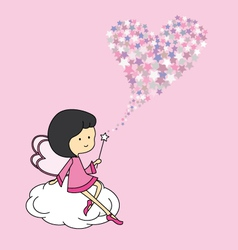 Fairy sitting on a cloud vector image