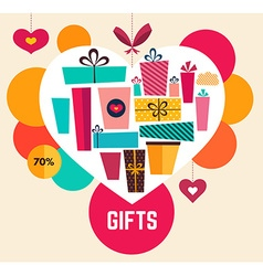 Holiday gifts in heart vector image