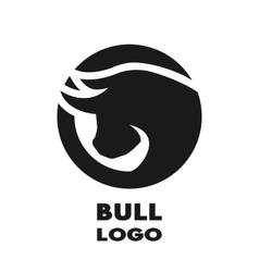 Silhouette of the bulll monochrome logo vector image vector image