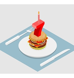 7 years birthday celebratory burger Number seven vector