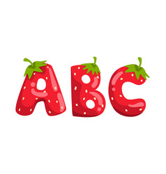 Abc ripe fresh strawberry alphabet letters tasty vector