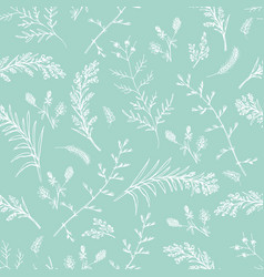 abstract floral seamless pattern on green vector image