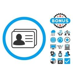Account Cards Flat Icon with Bonus vector