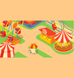 Amusement park concept cartoon style vector