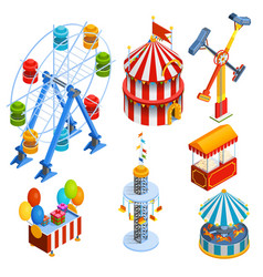 Amusement park isometric decorative icons vector