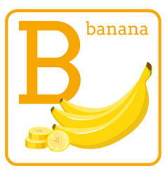 an alphabet with cute fruits letter b banana vector image