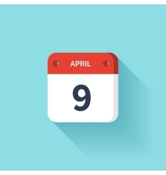April 9 Isometric Calendar Icon With Shadow vector