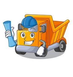 architect cartoon truck transportation on the road vector image