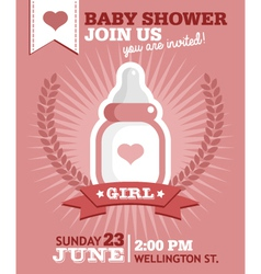 Baby Girl Bottle Invitation vector