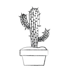 blurred silhouette cactus with two branches in pot vector image