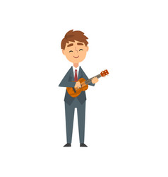 boy playing ukulele talented young musician vector image