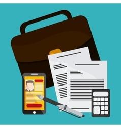 Businessman smartphone pen cv document calculator vector