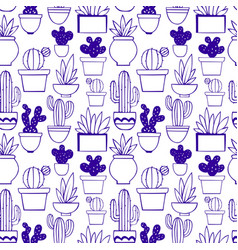 cactus decorative seamless pattern vector image