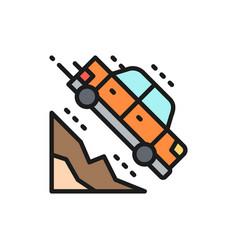 Car falls off a cliff flat color line icon vector