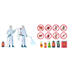 cartoon disinfector disinfectors characters in vector image