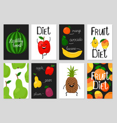 cartoon fruits cards vector image