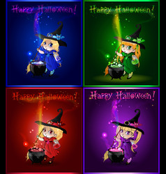 cartoon set of halloween greeting cards with vector image