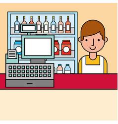 cashier and cash register and shelves supermarket vector image