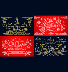 christmas banner set outline style vector image