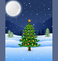 christmas tree in the winter night landscape vector image