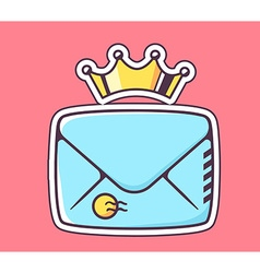 closed blue envelope with crown on red ba vector image