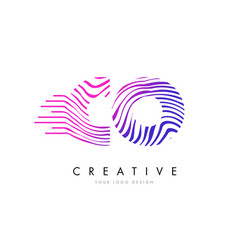 Co c o zebra lines letter logo design with vector