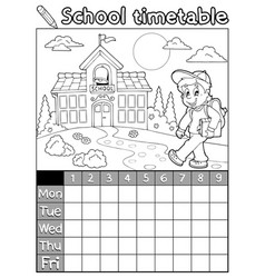coloring book school timetable 5 vector image