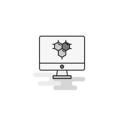 computer screen web icon flat line filled gray vector image
