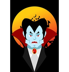 Count Dracula and moon Evil vampire Aggressive vector image