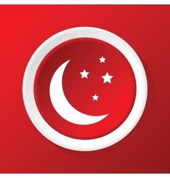 Crescent moon icon on red vector