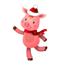 cute pig and santa hat symbol year in vector image