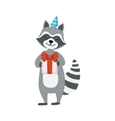 Cute Raccoon Character In Party Hat Holding A vector image