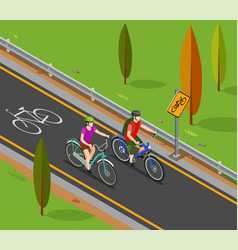 cycling tourism isometric composition vector image