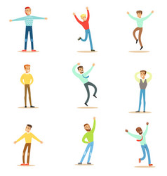 Dancing people set young smiling men in free vector