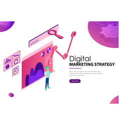 Digital marketing strategy landing webpage vector