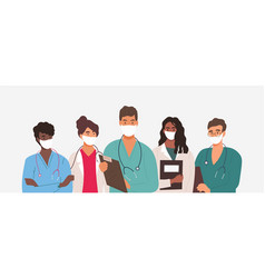 Diverse group medics or health workers vector