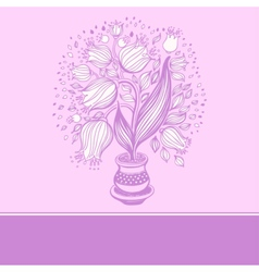 Drawing of beautiful tulips in a pot vector image