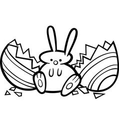 easter bunny cartoon coloring page vector image