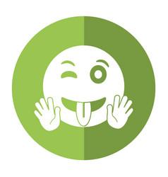 Eyewink and tongue emoticon style icon shadow vector