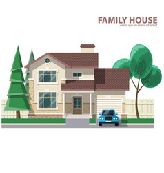 Family house car and trees hearth and home flat vector