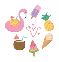 flamingo float and summer icon set design vector image