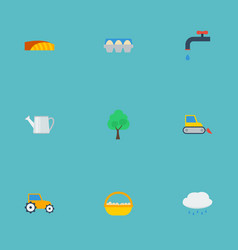 Flat icons container faucet farm vehicle and vector