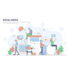 Flat line modern concept - social media vector