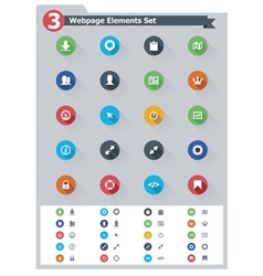 Flat webpage elements icon set vector image