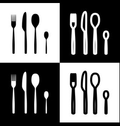 fork spoon and knife sign black and white vector image