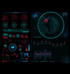 Futuristic sci fi modern user interface set vector