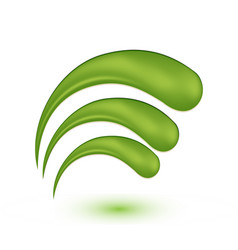 green swirly wave leafs icon vector image