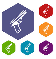 Gun icons set vector