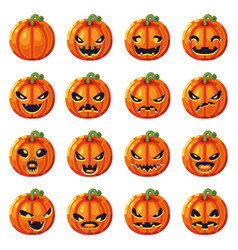 Halloween pumpkin decoration scary faces smile vector