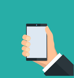 hand holding a smartphone vector image
